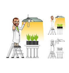 Plant scientist hanging a grow light vector