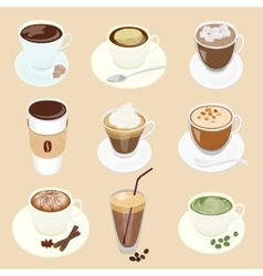 Set of different coffee cup and many kinds vector