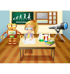 A girl writing inside a science laboratory room vector image