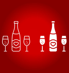bottle of champagne glasses line and glyph icon vector image