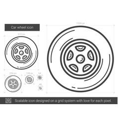 Car wheel line icon vector