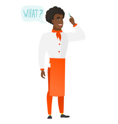 Chef cook with question what in speech bubble vector