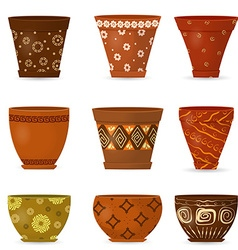 Collection decorative pottery flower pot for your vector