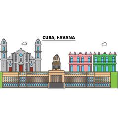 cuba havana outline city skyline linear vector image vector image