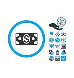 Dollar Banknote Flat Icon With Bonus vector image