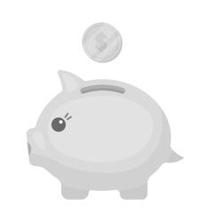 Donation piggybank icon in monochrome style vector