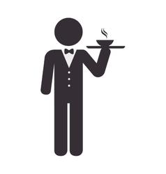 Elegant waiter character icon vector