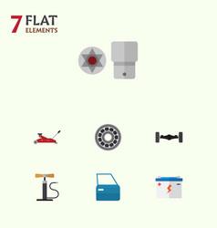 Flat auto set of wheel pump lifting brake disk vector