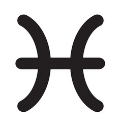 flat black pisces sign icon vector image
