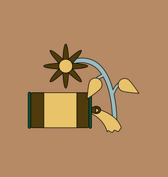 Flat icon design collection canned and flower vector