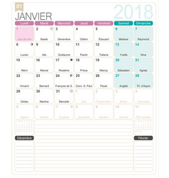 french calendar 2018 vector image