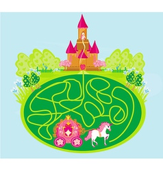 Funny maze game - princess waits in a castle vector
