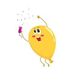 Glossy yellow balloon character with a cracker vector image