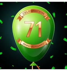 Green balloon with golden inscription seventy one vector
