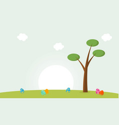 Happy easter with egg and tree landscape vector