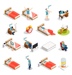 Healthy sleep and disorders icons vector