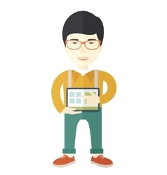 Japanese man holding a screen tablet vector