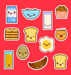 kawaii breakfast food set cute faces emotion vector image vector image