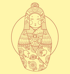 Matryoshka japan style hand drawn vector