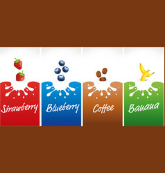milk splash with strawberry blueberry coffee vector image vector image