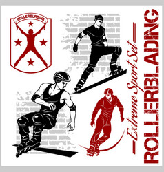 Rollerblading - emblem roller on vector
