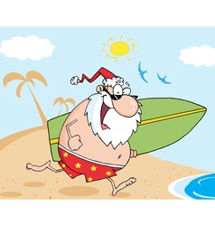 Santa running with a surfboard vector