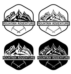 set of vintage labels mountain adventure vector image