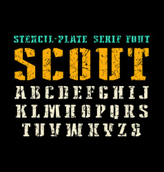 Stencil-plate serif font in military style vector