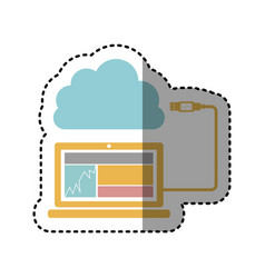 Sticker tech laptop with cloud storage icon stock vector