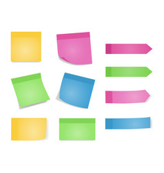 sticky notes set of color sheets of note papers vector image vector image