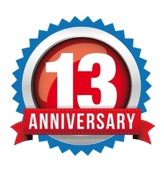 Thirteen years anniversary badge with red ribbon vector