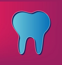 Tooth sign blue 3d printed vector
