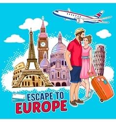 Travel Around Europe Design vector image vector image