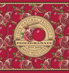 Vintage pomegranate label on seamless pattern vector
