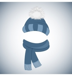 Winter cap with a pompom and a scarf with fringe vector image