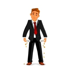 Bankrupt businessman with empty pockets vector