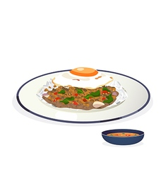 stir fried pork vector image