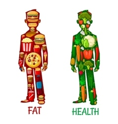 Fat and health human nutrition icons vector