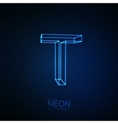 Neon 3d letter t vector
