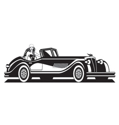 Fashion model and classic car vector