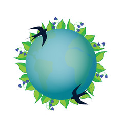 Earth day planet with leaves and blue bells vector