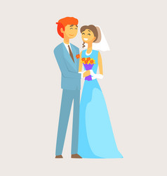 Beautiful loving couple of bride and groom is vector