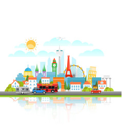 Modern cityscape with different vehicle travel vector