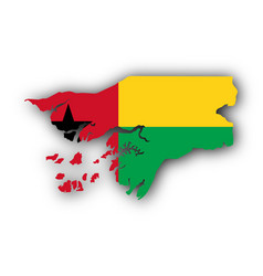 Map and flag of guinea-bissau vector