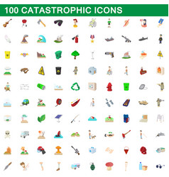100 catastrophic icons set cartoon style vector image