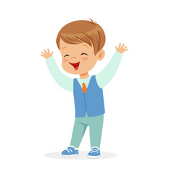 Happy smiling little boy in elegant clothes vector