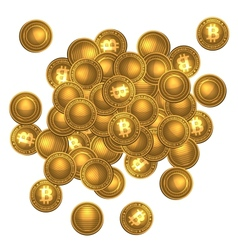 Bitcoins heap isolated on white vector