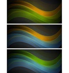 Bright wavy banners vector