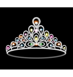 crown tiara women with glittering vector image