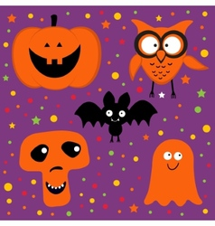 Halloween set with pumpkin owl bat ghost and skull vector image